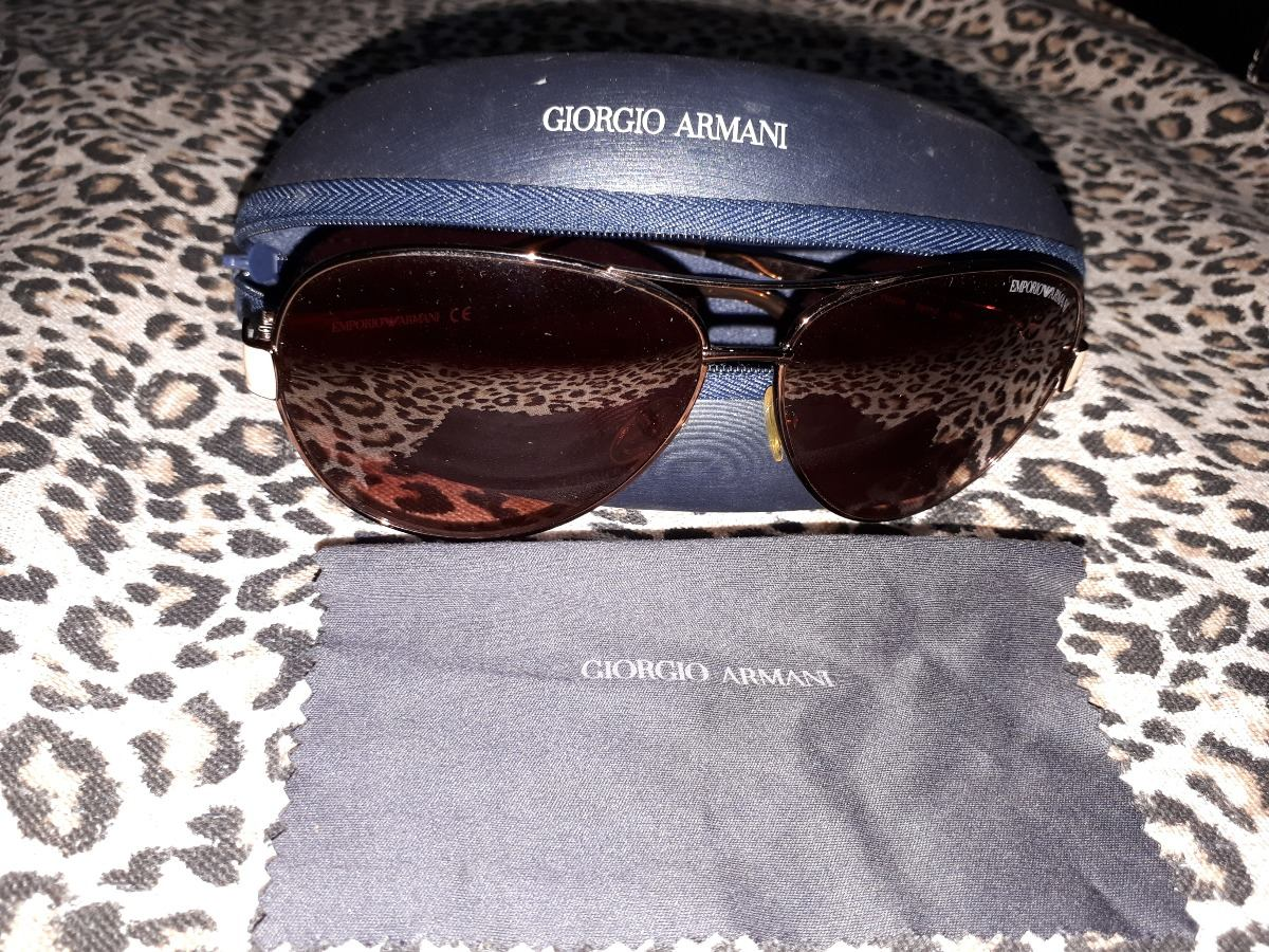 61173968a óculos de sol aviador giorgio armani com case marrom e bege. Carregando  zoom.