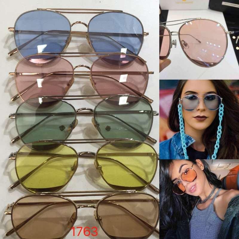 bbaf898c3a9b7 óculos de sol aviador lente transparente colorida e corrente. Carregando  zoom.