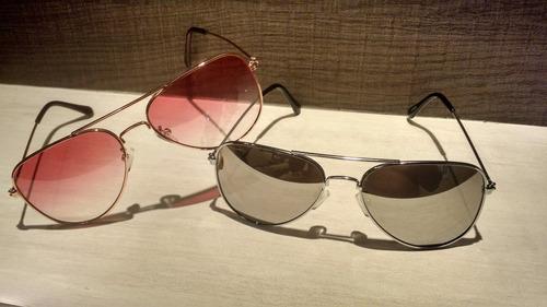 óculos de sol aviador masculino feminino prata espelhado