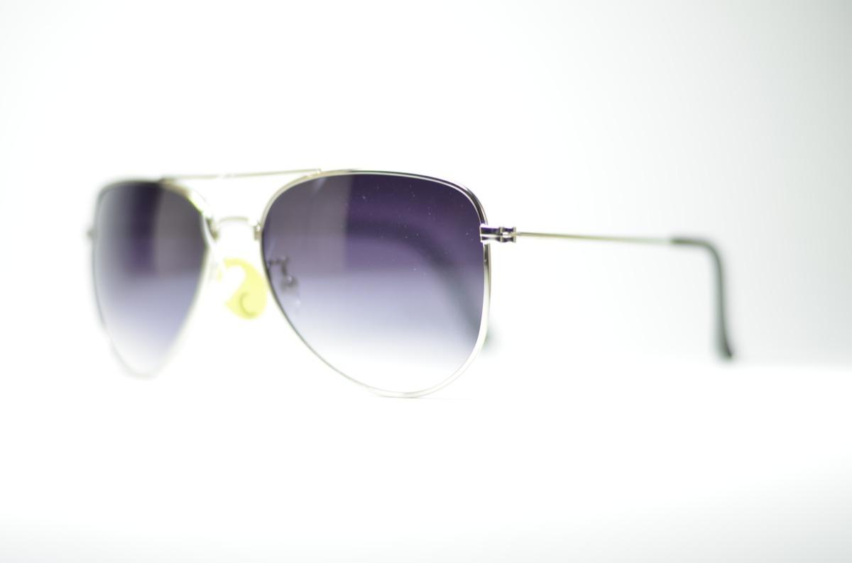 d83bec198de1b óculos de sol aviador prata lente degrade com proteção uv400. Carregando  zoom.