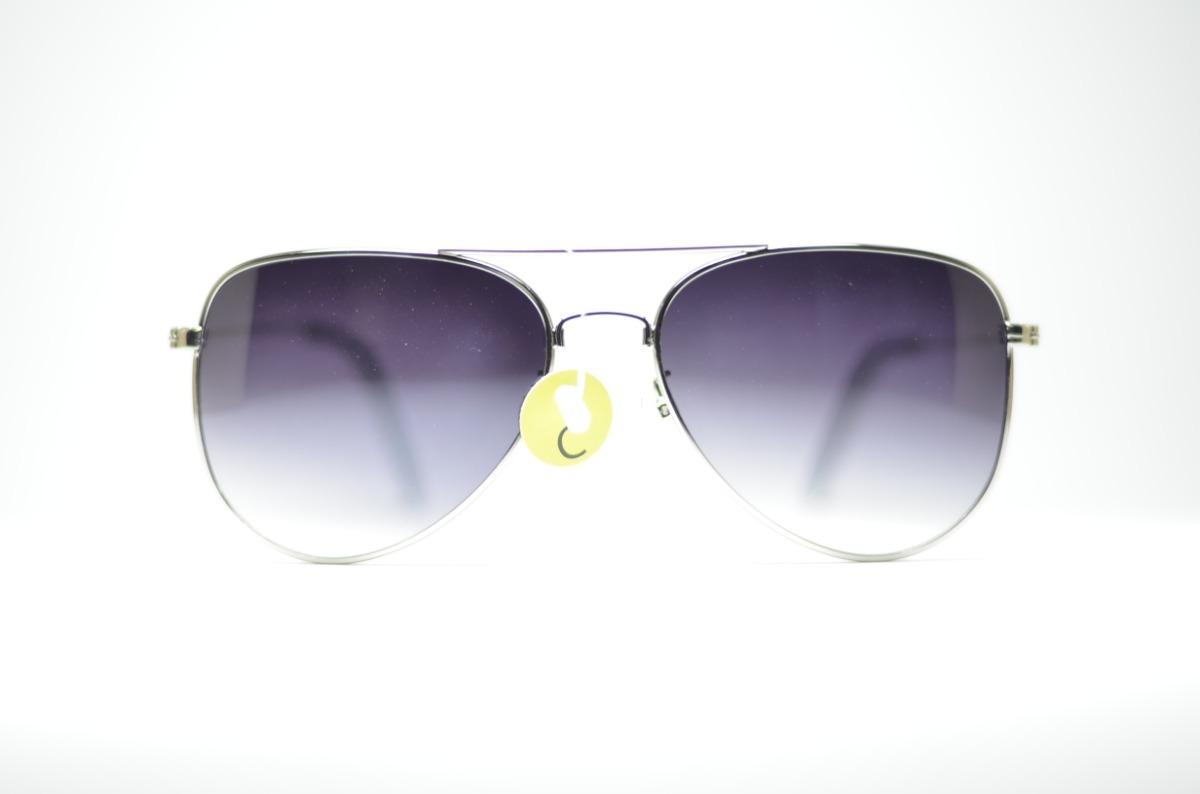 Óculos De Sol Aviador Prata Lente Degrade Com Proteção Uv400 - R  79 ... fc893d2a29