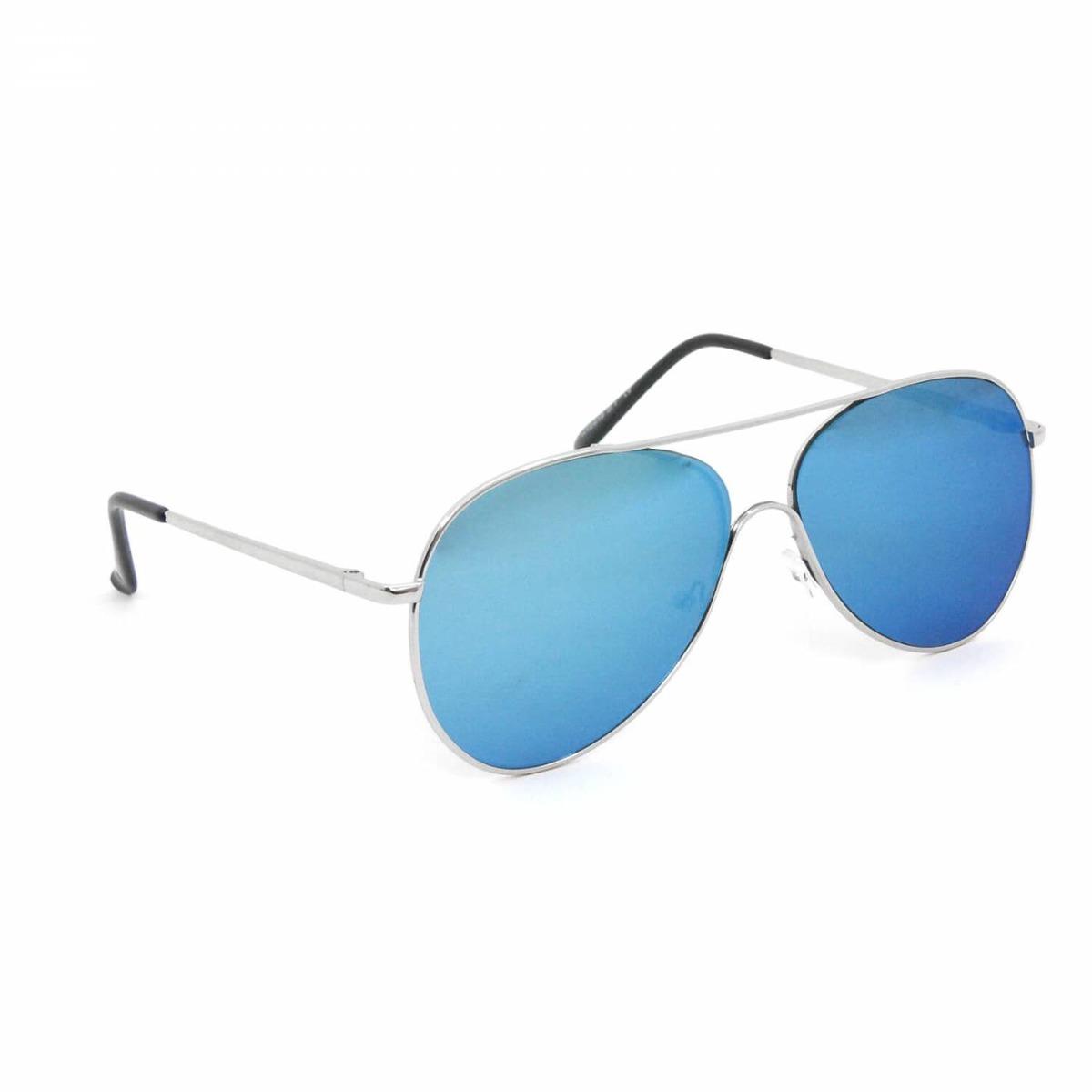 aa72e2797 Óculos De Sol Aviador Prateado Com Lente Azul Espelhado - R$ 114,17 ...