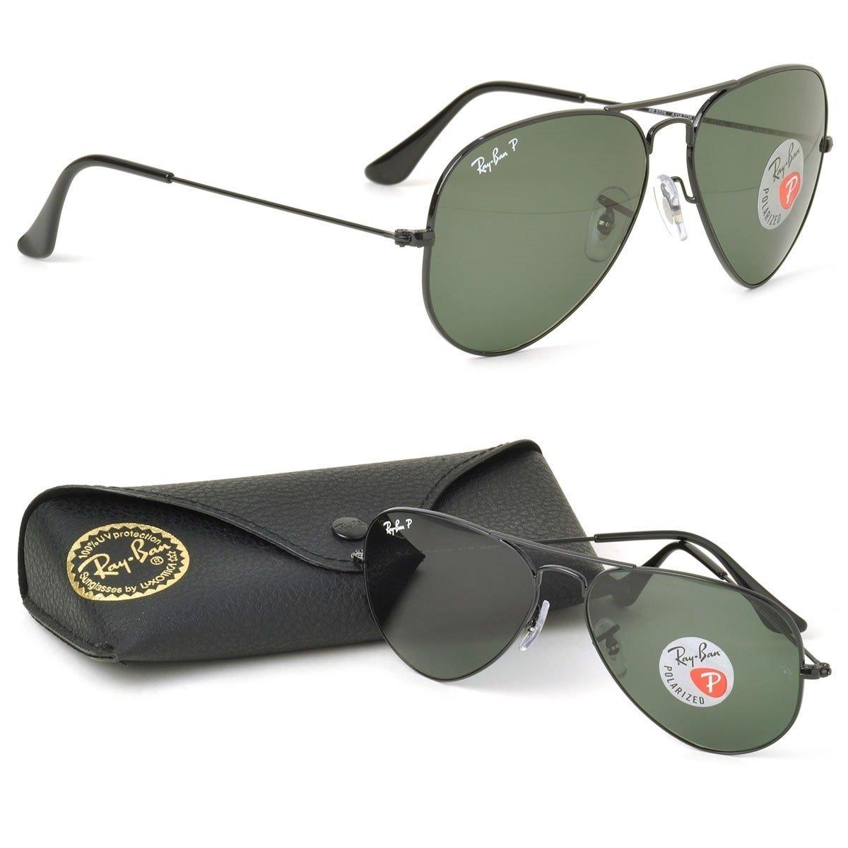 ee96943c26883 Óculos De Sol Aviador Preto Lente Cristal Esmeralda - R  119