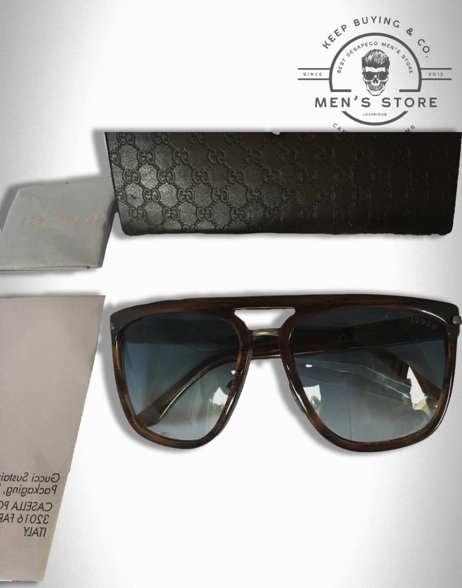 3ed481c5845b1 oculos de sol aviador quadrado marrom azul masculino gucci. Carregando zoom.