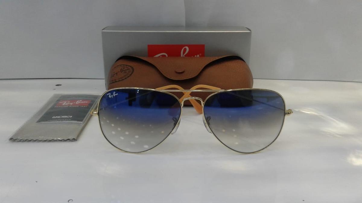 c81eef6f28598 Óculos De Sol Aviador Ray Ban 3025 3026 Cristal Azul Degrade - R ...