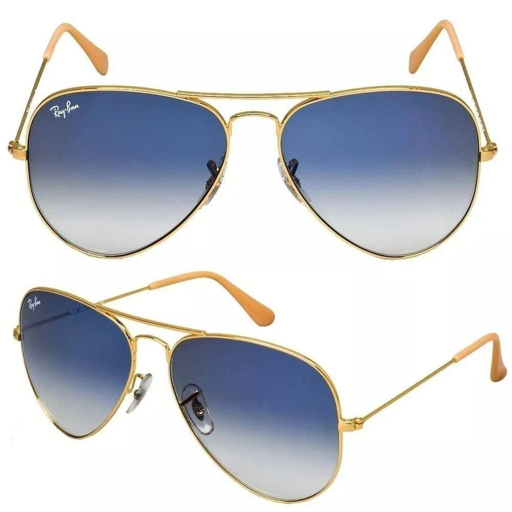 958e9a295920c Óculos De Sol Aviador Ray Ban Unissex Metal Azul Degradê - R  319
