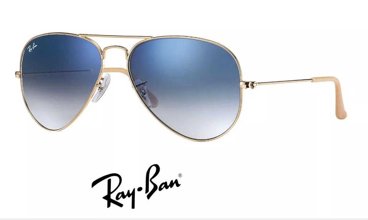 ea6637527 óculos de sol aviador ray ban unissex metal azul degradê. Carregando zoom.