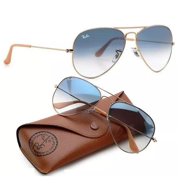 82de1bd2a Óculos De Sol Aviador Ray Ban Unissex Metal Azul Degradê - R$ 264,49 ...