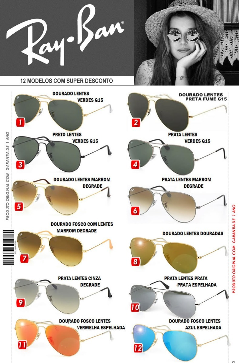 0dbb3b850b890 Óculos De Sol Aviador Rayban 12 Modelos Em Promoção - R  279,00 em ...