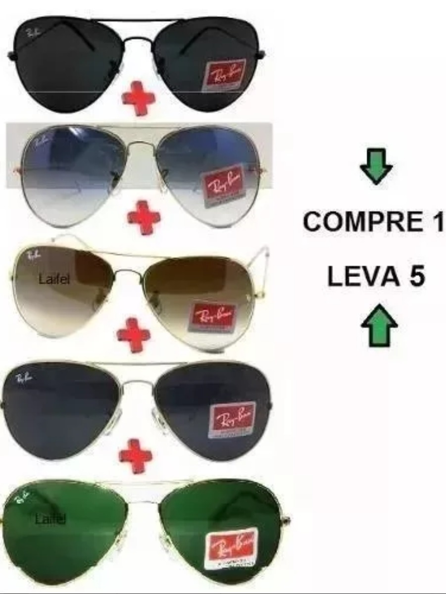 Óculos De Sol Aviador Unissex Promoção Pague 1 Leve 5 - R  145,90 em ... 793567a64d