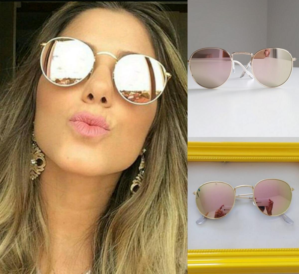 01c33d022 Óculos De Sol Básico Espelhado Retro Redondo Round Vintage - R$ 25 ...