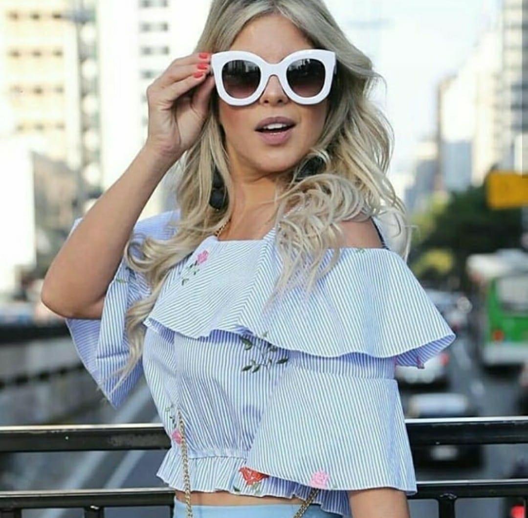 12a3441b0 óculos de sol branco grande feminino de luxo grife famosa. Carregando zoom.