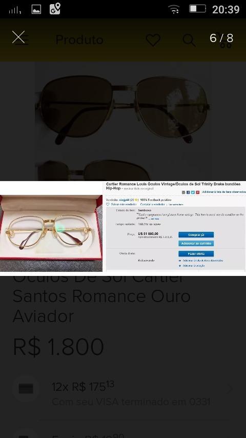 4823b29c155e2 Óculos De Sol Cartier Santos Romance - R  1.900,00 em Mercado Livre