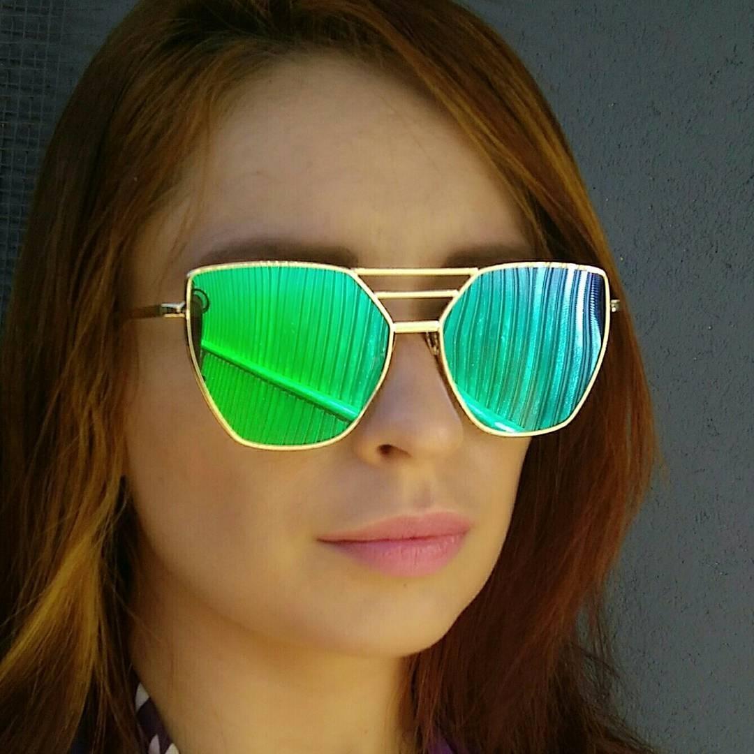 40afe7b8a óculos de sol cat eyes fashion lente espelhada verde. Carregando zoom.