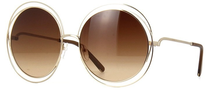 a6c915e9c69e9 Oculos De Sol Chloe Carlina Redondo Luxo Marrom dourado - R  69