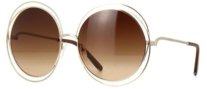 44513e315b0b0 Oculos De Sol Chloe Carlina Redondo Luxo Marrom dourado - R  69