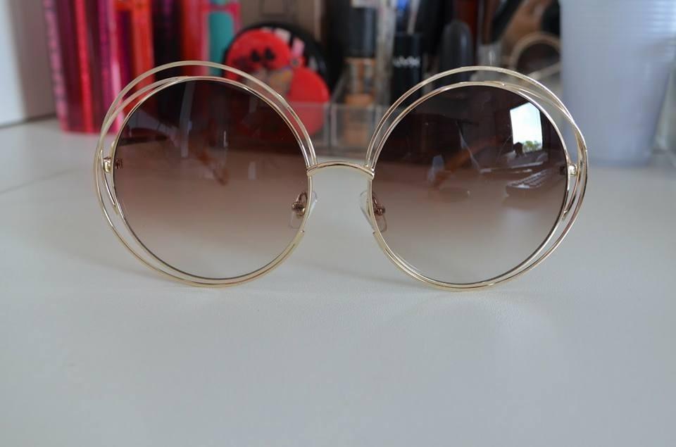 49901bd95f50d oculos de sol chloe carlina redondo luxo marrom dourado. Carregando zoom.