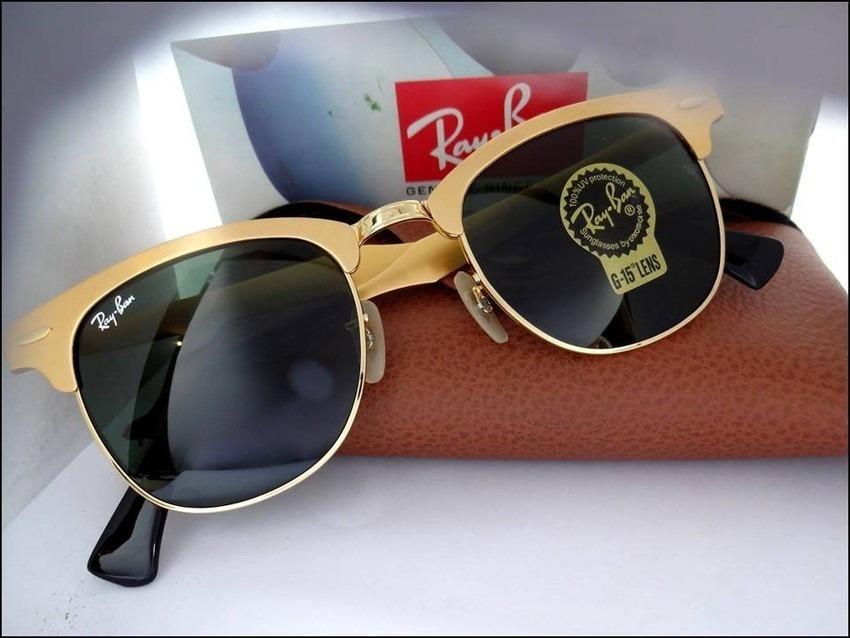 e2a94d4c40b08 óculos de sol clubmaster 3507 aluminium dourado verde. Carregando zoom.