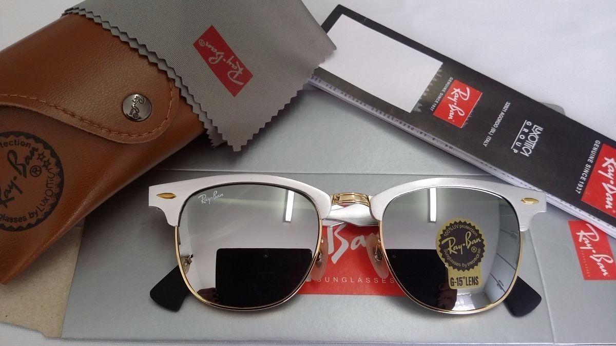 8bf93f8ac033a Oculos De Sol Clubmaster Aluminium Prata Espelhado Feminino - R  319 ...
