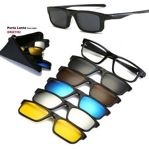 00646a934405c Óculos De Sol Com Armação De Grau Clip On 6 Em 1 Polarizado - R  149 ...