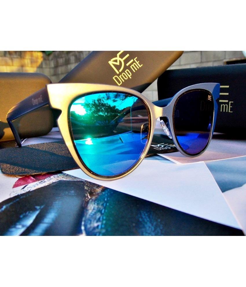 33670bdc9dba8 Óculos De Sol Drop Me Feminino Gatinho Ícone Lente Flat Azul - R ...