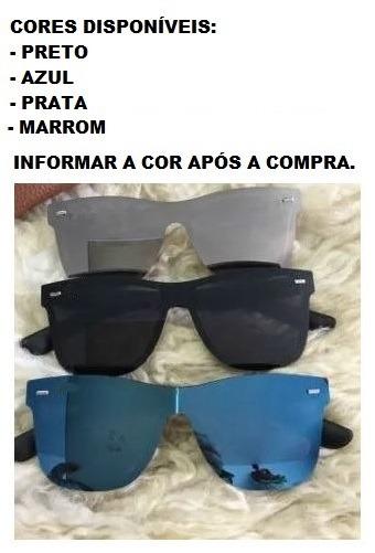 Óculos De Sol Escuro Da Moda Espelhado Grande Unissex Barato - R  38 ... 3018213de7