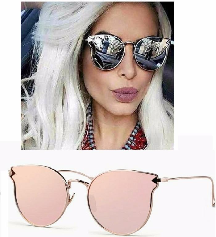 ebac02a54945a Óculos De Sol Escuro Espelhado Gatinho Metal Várias Cores - R  39