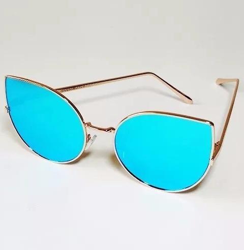 975b57e3111e5 Óculos De Sol Escuro Espelhado Gatinho Metal Várias Cores - R  39