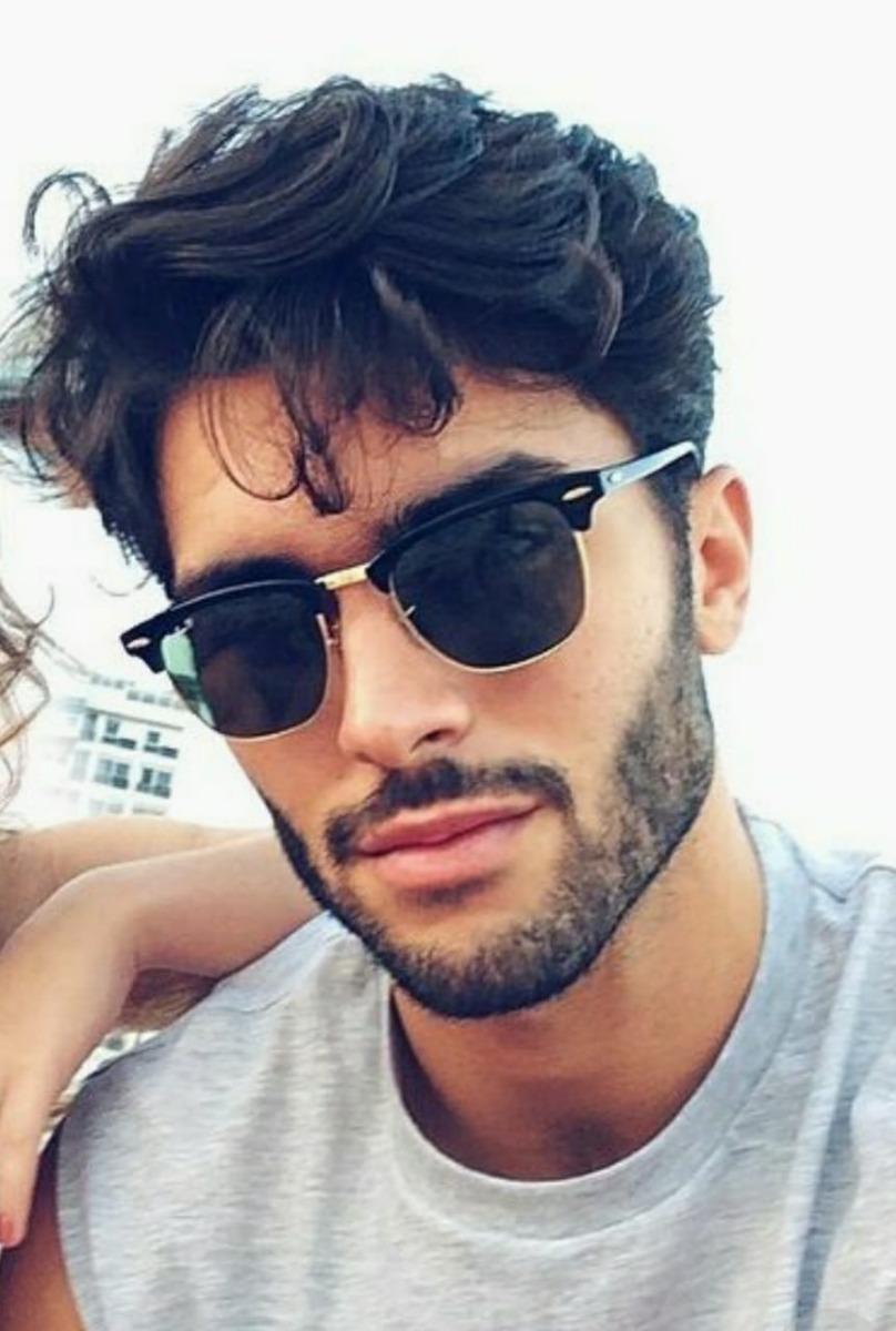 óculos de sol escuro espelhado masculino preto moderno retro. Carregando  zoom. 01e2dc2e49