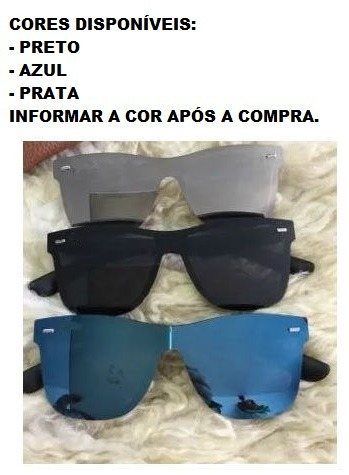 Oculos De Sol Escuro Espelhado Viagem Praia Verão 2019 Azul - R  39 ... 345f56d65c