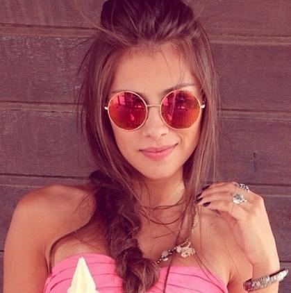 Óculos De Sol Escuro Redondo Lente Espelhada Retro Blogueira - R  42 ... 4c65a0ca20