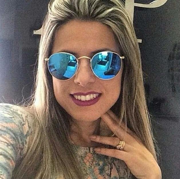599e4d64a Óculos De Sol Escuro Redondo Lente Espelhada Retro Blogueira - R$ 42 ...
