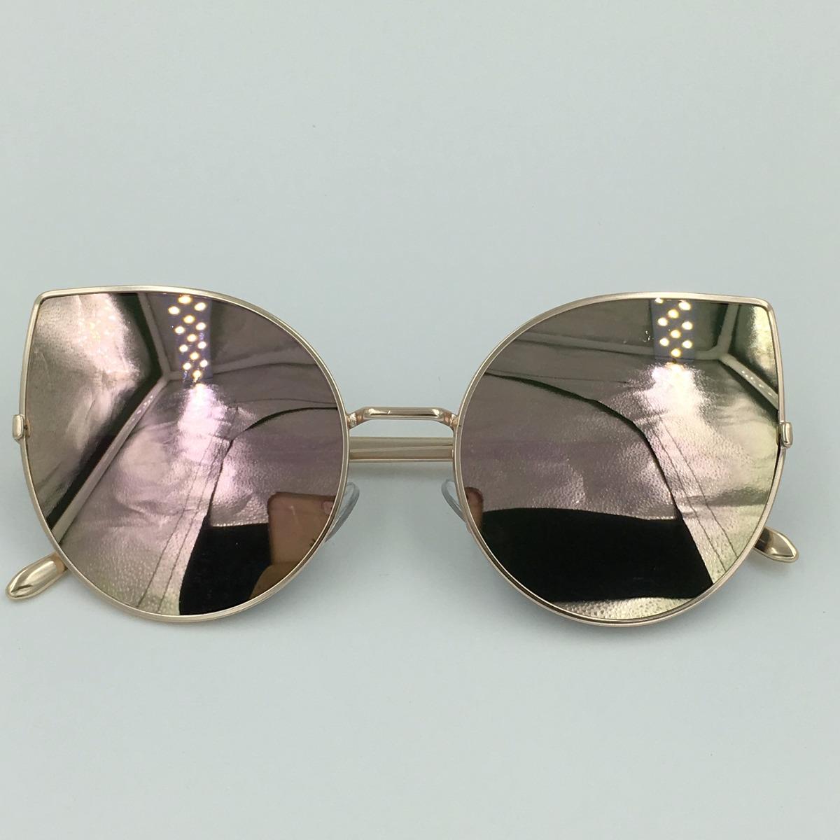 óculos de sol espelhado feminino gato gatinho metal redondo. Carregando  zoom. bb314526fb