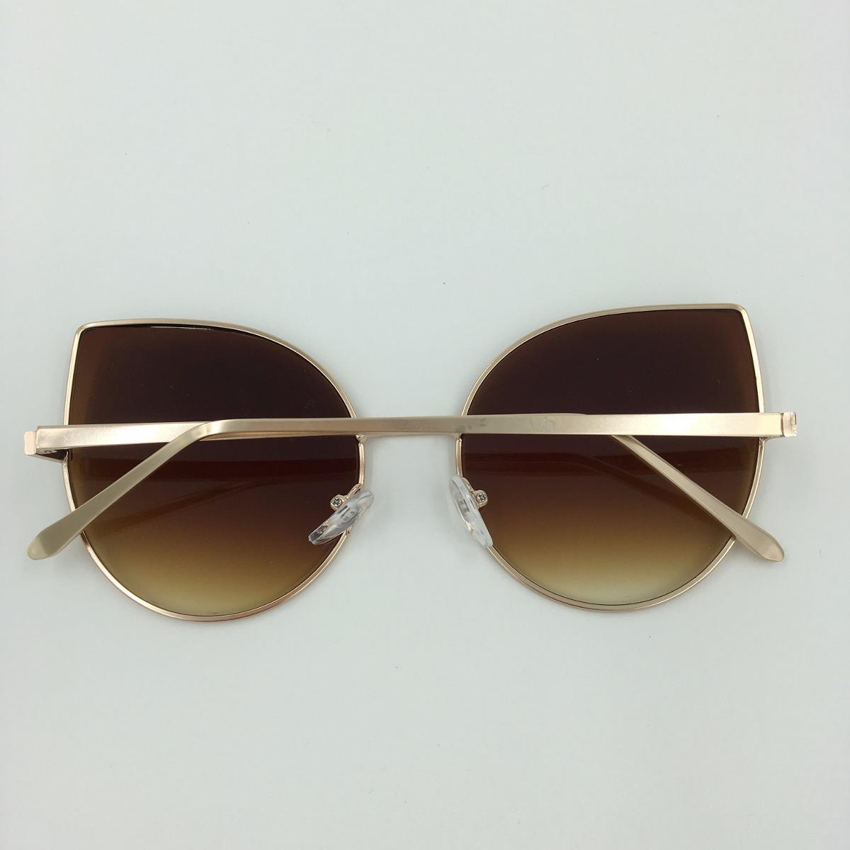 14682e1d45b66 óculos de sol espelhado feminino gato gatinho metal redondo. Carregando zoom .