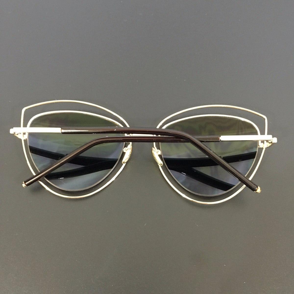 655aa9e3a193f óculos de sol espelhado feminino gato gatinho redondo metal. Carregando zoom .