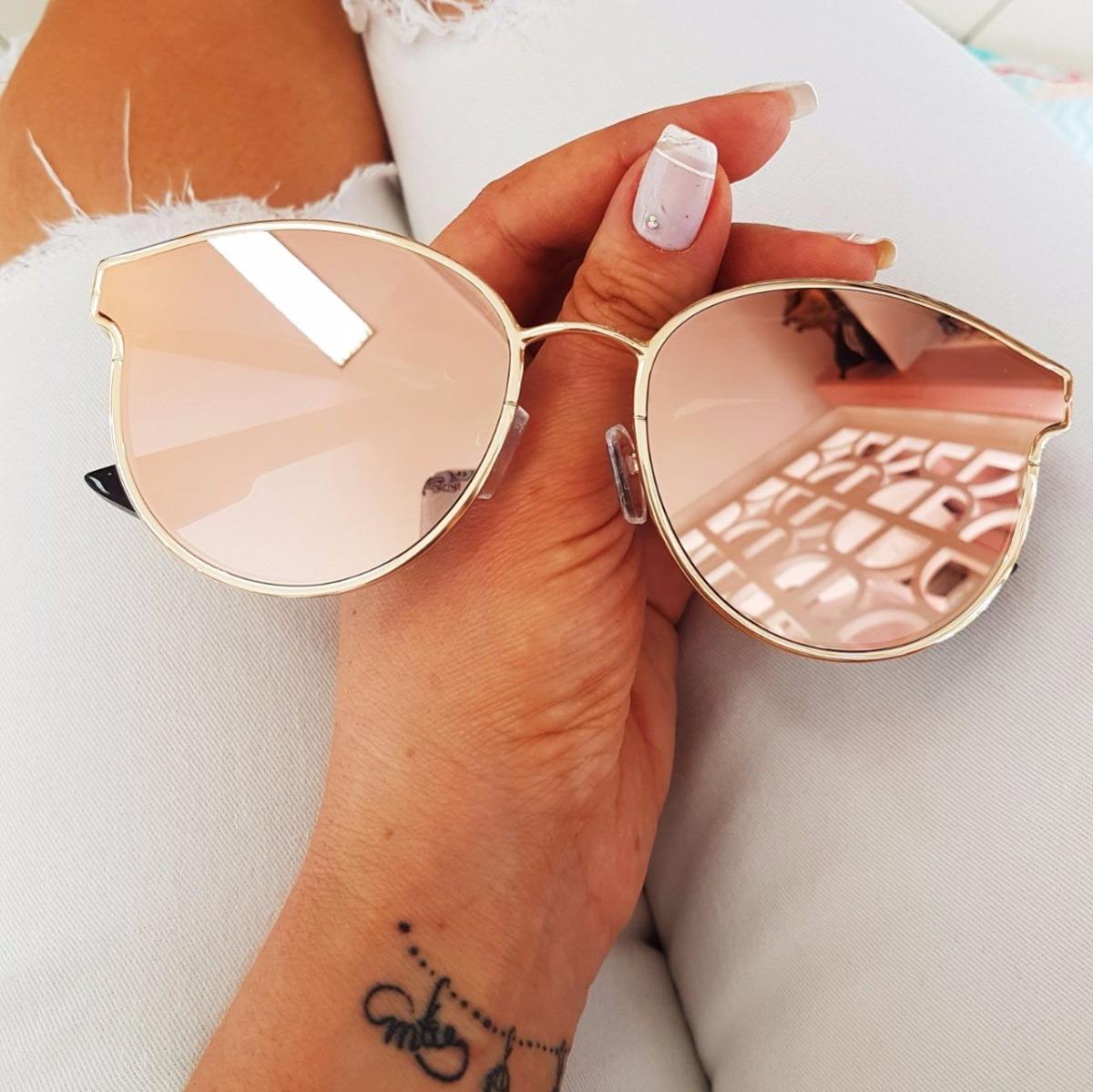 7e0601466 óculos de sol espelhado feminino rosa gatinho original. Carregando zoom.
