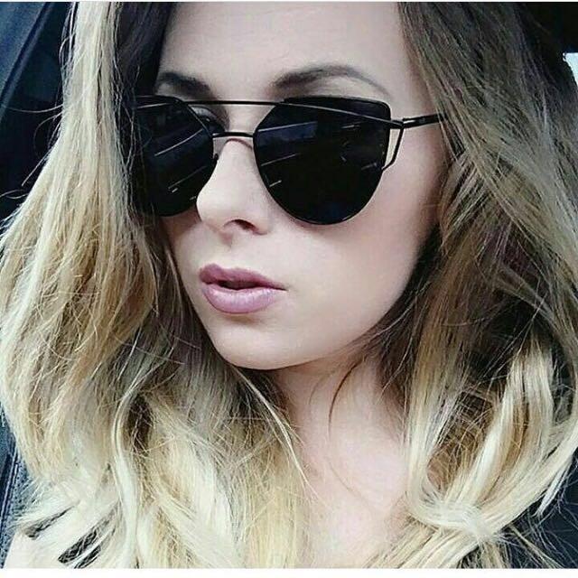 e6bfa3a96 Óculos De Sol Espelhado Fit Gatinho Metal Redondo Uv400 - R$ 72,99 ...