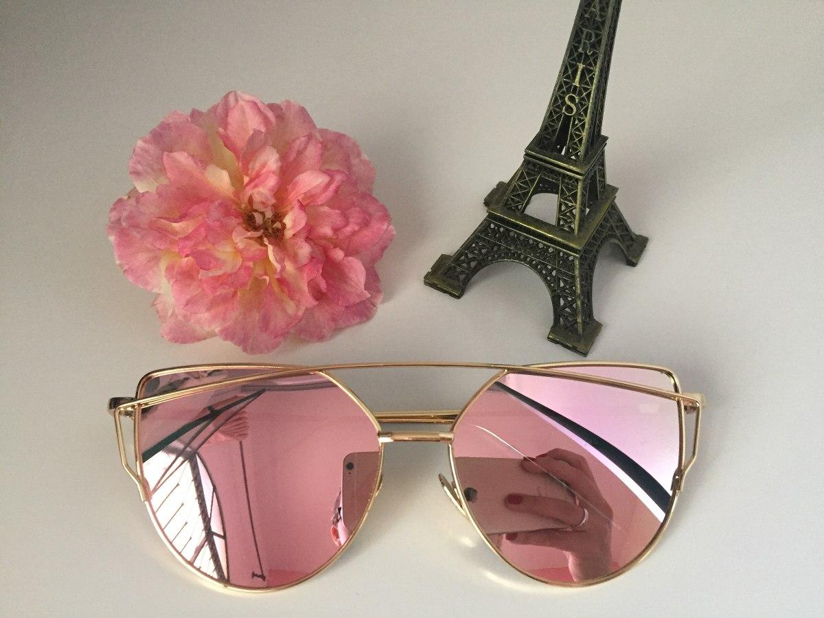 adc59ad77a588 Óculos De Sol Espelhado Inspired Dior Love Punch Rose - R  59,90 em ...