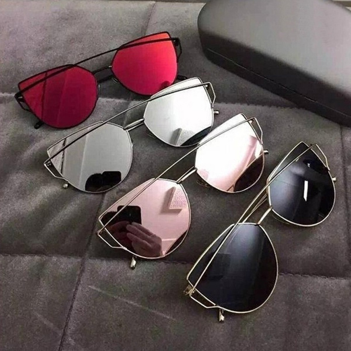 849029518a402 óculos de sol espelhado rose com dourado feminino gatinho. Carregando zoom.