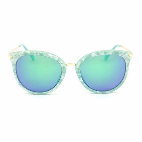 Óculos De Sol Estilo Gatinha Marmorizado Lente Espelhada Azu - R ... 2337c27b00