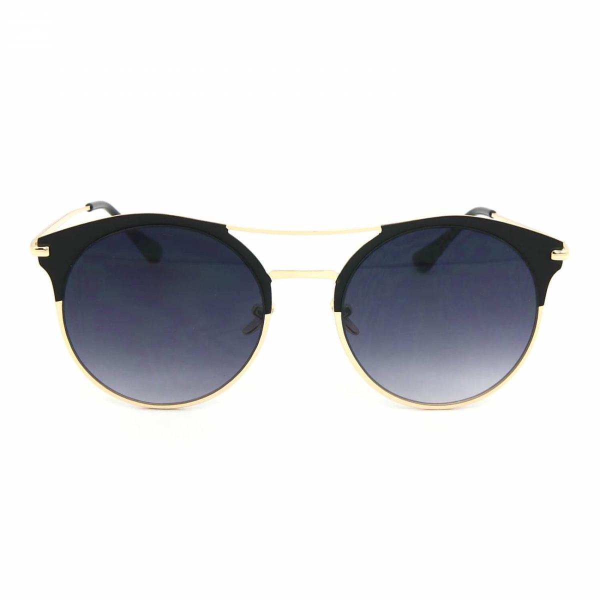 9ffe9cfb38674 óculos de sol estilo top bar com lente redonda preta. Carregando zoom.