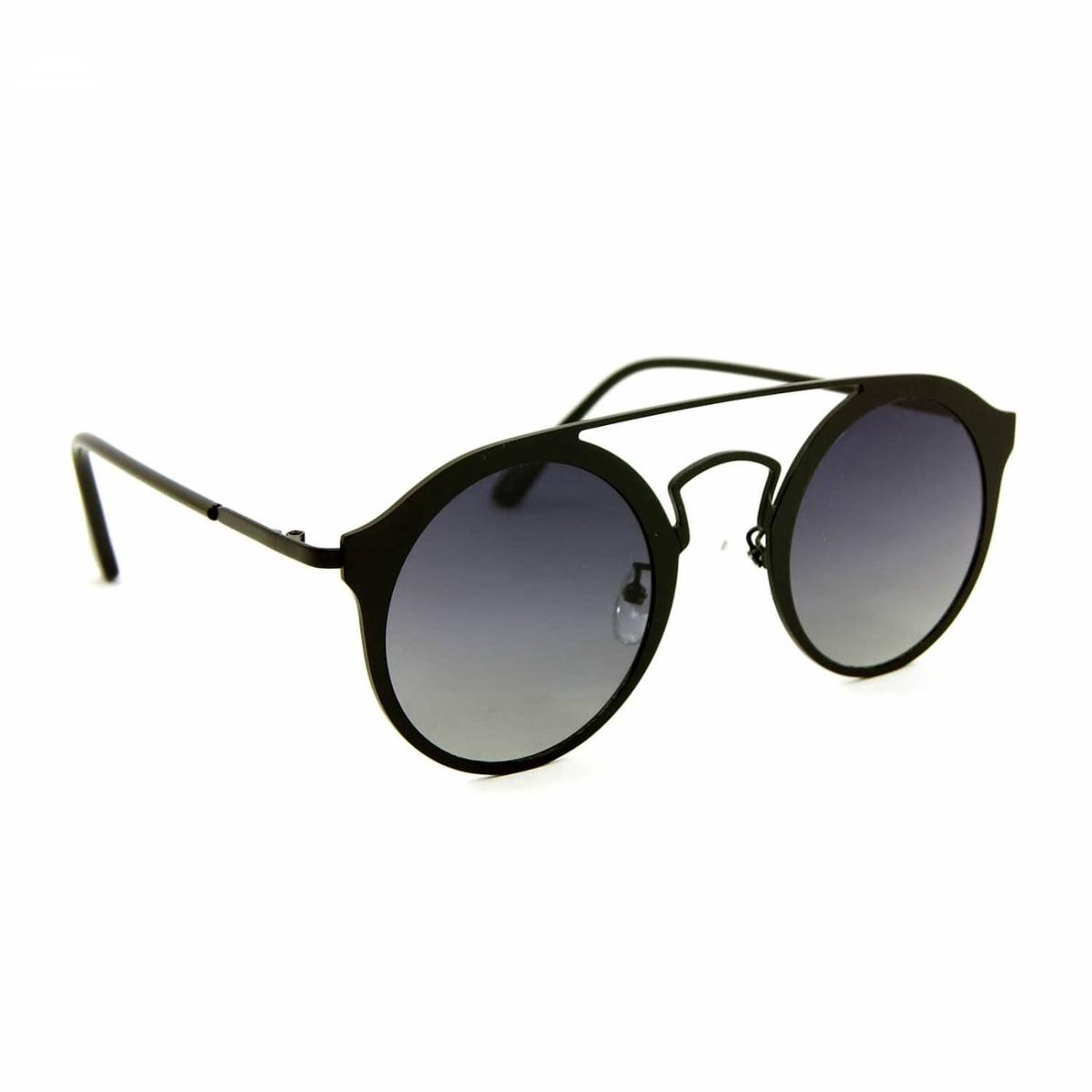 67a460fbb Óculos De Sol Estilo Top Bar Redondo Preto - R$ 106,90 em Mercado Livre