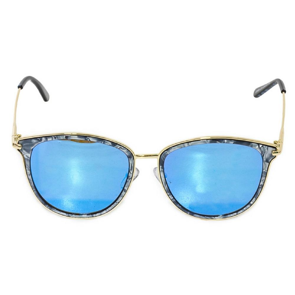 17d196b12388d óculos de sol feminino armação efeito marmorizado lente azul. Carregando  zoom.