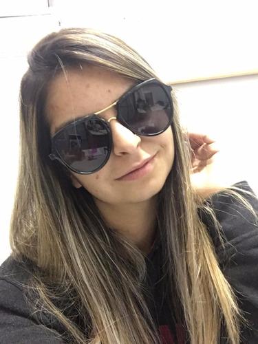 e3d4500ff óculos de sol feminino arredondado haste dourada moda 2017. Carregando zoom.