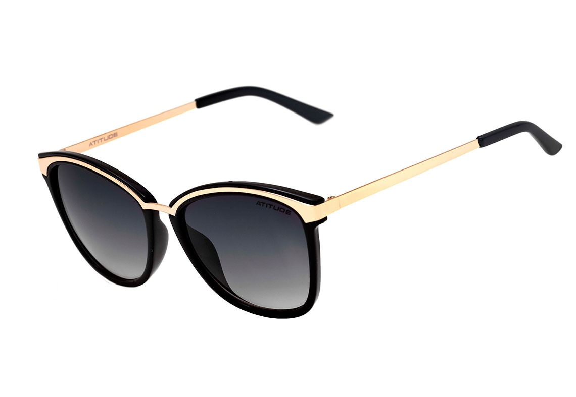 46a6ce0df39a6 Óculos De Sol Feminino - Atitude At 5341 A01 - Preto dourado - R ...
