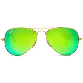 Oculos De Sol Feminino Aviador 3025 3026 Verde Espelhado