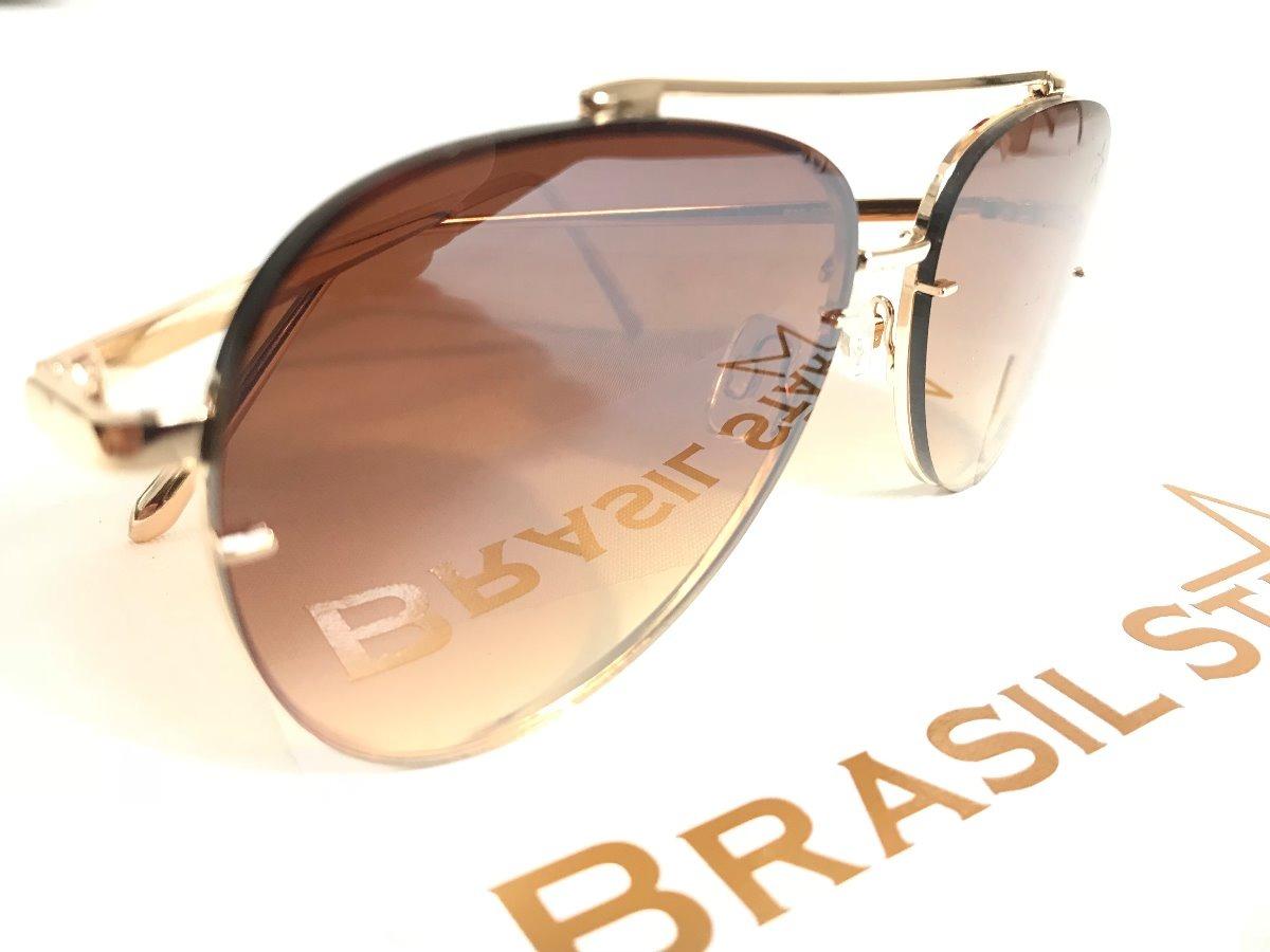 oculos de sol feminino aviador armação dourada brasil star. Carregando zoom. 1e347b1a13