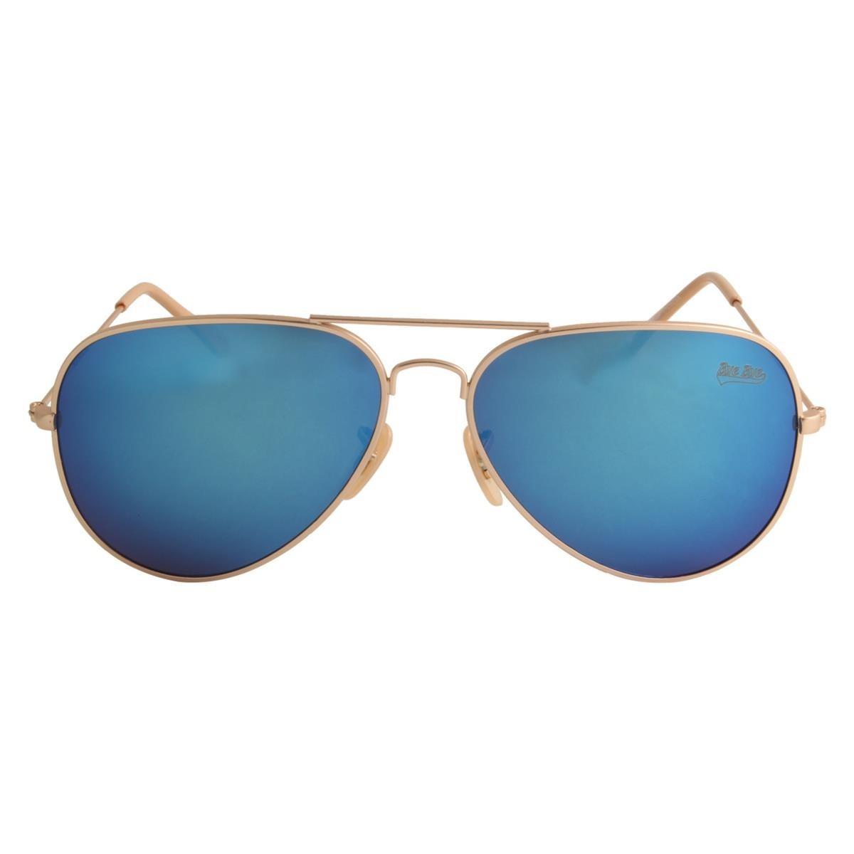 cb26b9bf7abc6 óculos de sol feminino aviador azul com dourado. Carregando zoom.