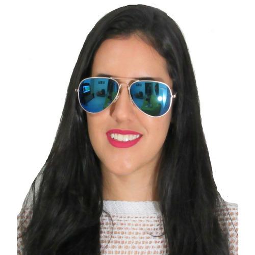 Óculos De Sol Feminino Aviador Azul Com Dourado - R  149,90 em ... 5f08e9b843