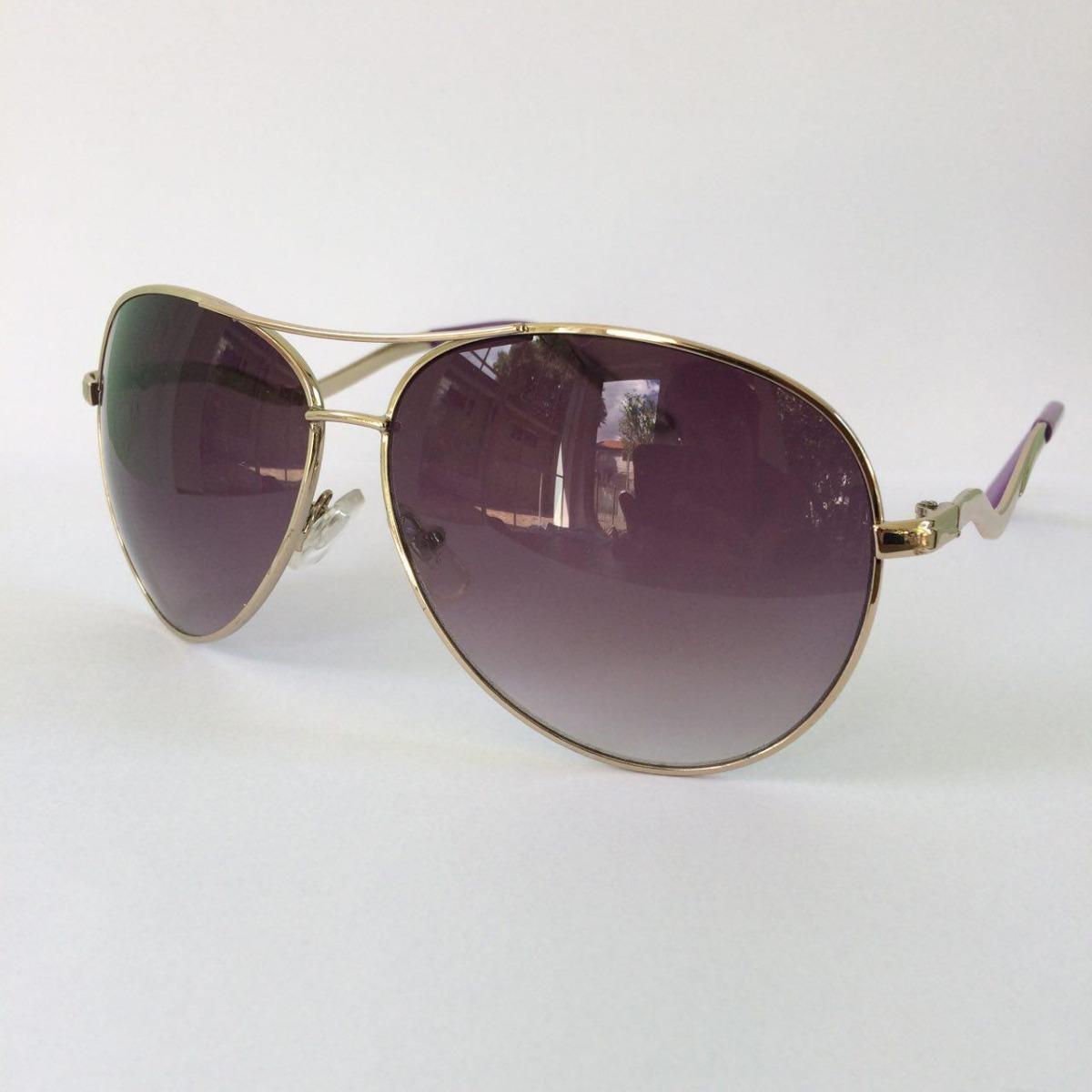 cf791ee753bed óculos de sol feminino aviador detalhe roxo proteção uv400. Carregando zoom.